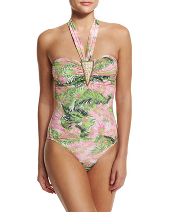 Evergreen Printed Halter One-Piece Swimsuit