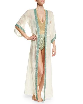 Geoskin Drawstring Long Kimono Coverup