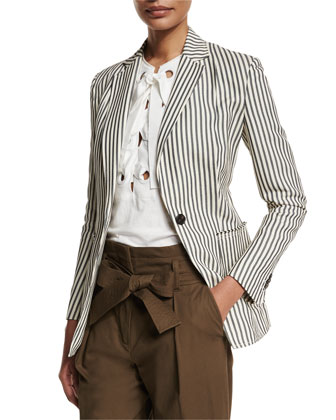 Striped Single-Button Blazer, Navy/Ivory