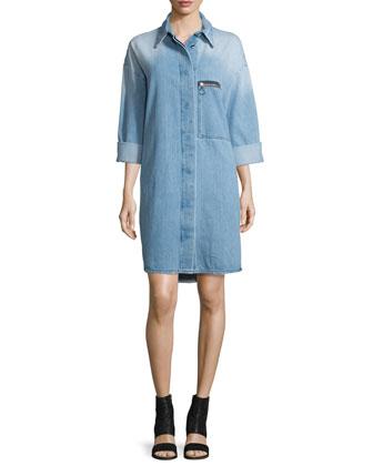 Denim Button-Up Shirtdress, Blue