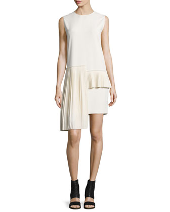Sleeveless Side-Pleat Dress, Ivory