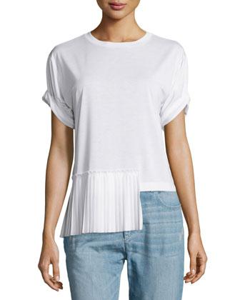 Short-Sleeve Side-Pleat Top, White