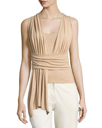 Sleeveless Wrap Top, Nude