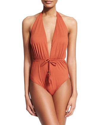 Phoenix Plunge-Neck Halter One-Piece Swimsuit