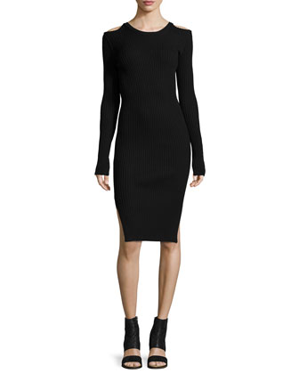 Cold Shoulder Long-Sleeve Sweaterdress, Black