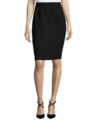 Fitted Pencil Skirt, Black