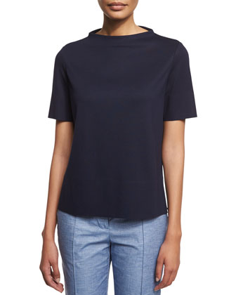 Short-Sleeve Stand-Collar Top