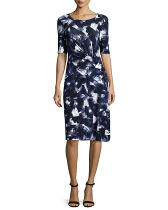 Brushstroke-Print Twisted-Front Dress