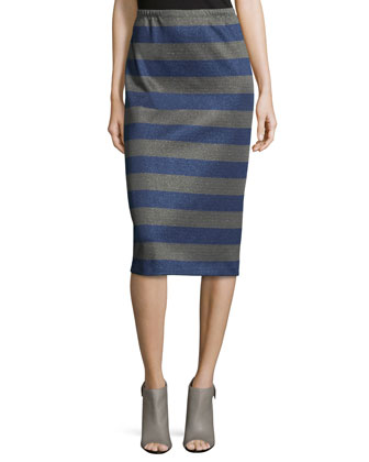 Long Striped Pencil Skirt