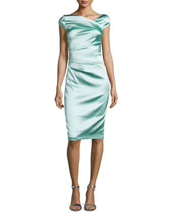 Cap-Sleeve Pleated Cocktail Dress, Reseda