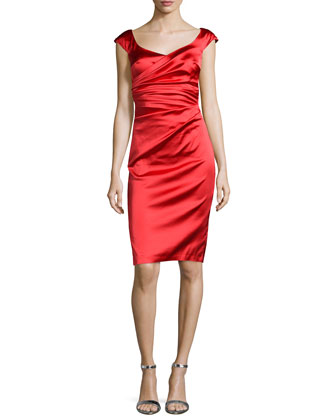 Off-The-Shoulder Cocktail Dress, Cerise