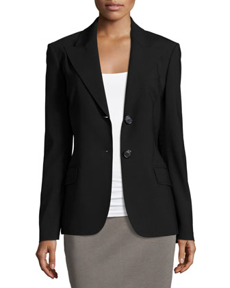 Two-Button Fitted Jacket, Black