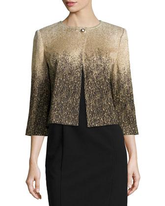 3/4-Sleeve Metallic Ombre Sweater, Gold/Black