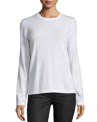 Long-Sleeve Jewel-Neck Sweater, White