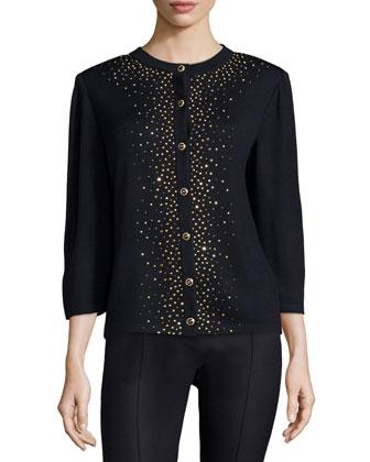 3/4-Sleeve Embellished Cardigan, Black/Gold