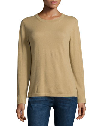 Long-Sleeve Jewel-Neck Sweater, Barley