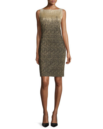 Sleeveless Metallic Ombre Sheath Dress, Gold/Black