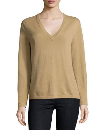 Long-Sleeve V-Neck Sweater, Barley