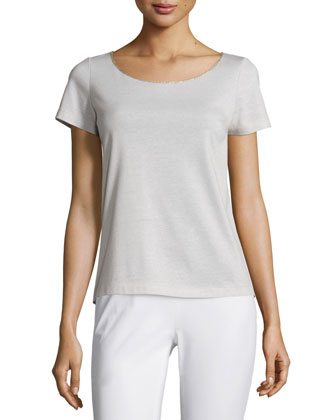 Carlise Long Silk Blouse, Short-Sleeve Metallic-Trim Tee & Stanton Cropped ...