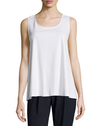 Sleeveless Swing Tank, White