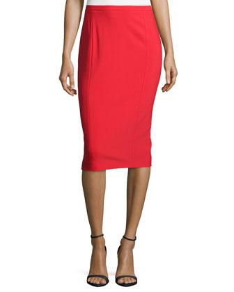 Seamed Pencil Skirt, Scarlet