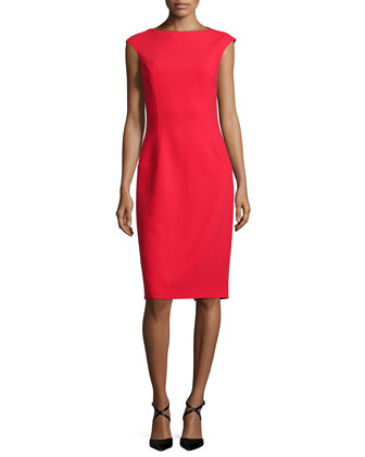 Sleeveless Elliptical-Seam Sheath Dress, Scarlet