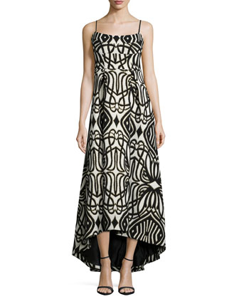 Spaghetti Strap Geo-Print High-Low Gown