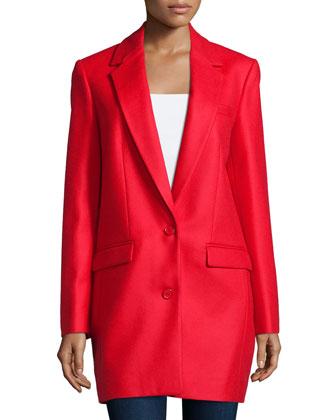 Two-Button Boyfriend Long Jacket, Scarlet