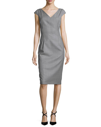 Cap-Sleeve Houndstooth Sheath Dress, Black/White