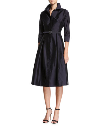 3/4-Sleeve Belted Midi Shirtdress