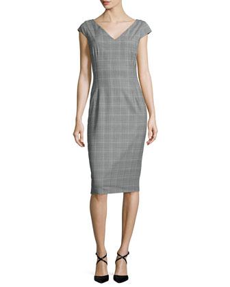 Cap-Sleeve Glen-Check Sheath Dress, Black/Ice/White