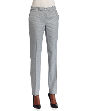 Samantha Houndstooth Skinny Pants, White/Oxford
