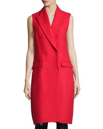 Melton Double-Breasted Sleeveless Coat, Scarlet