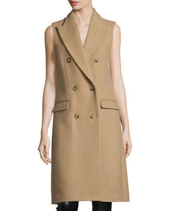 Melton Double-Breasted Sleeveless Coat, Fawn