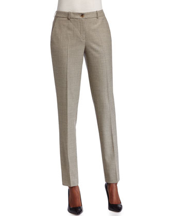 Slim-Leg Houndstooth Pants, White/Black/Fawn