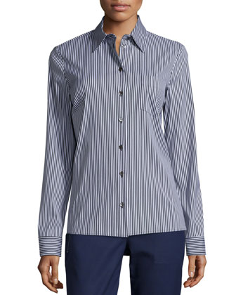 Skinny-Striped Button-Front Classic Shirt, Black/Ice/White