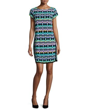 Short-Sleeve Printed Sheath Dress, Black/Multi Colors