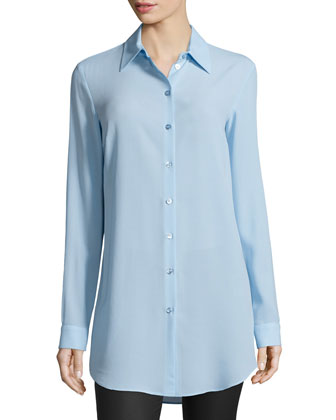 Long-Sleeve Button-Front Long Shirt, Ice