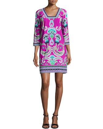3/4-Sleeve Multi-Print Sheath Dress, Shocking Pink/Multi Colors