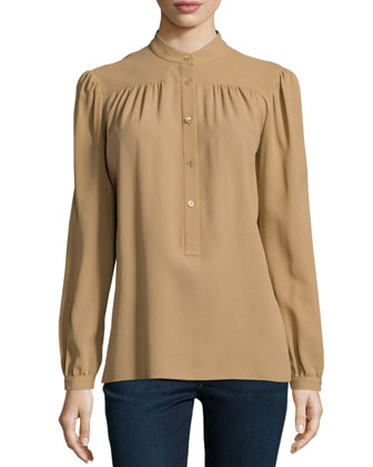 Long-Sleeve Button-Front Blouse, Fawn