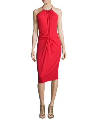 Sleeveless Twist-Front Sheath Dress, Scarlet
