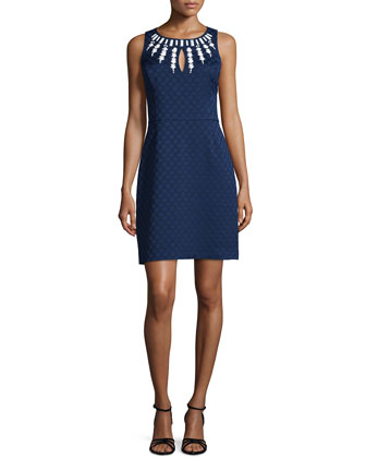 Sleeveless Embellished Sheath Dress, Inkblot