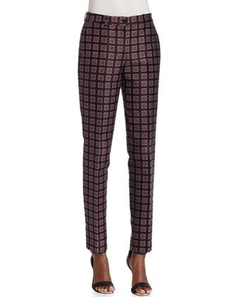 Samantha Printed Slim-Leg Pants, Black/Scarlet/White
