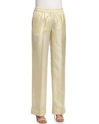 Wide-Leg Striped Pajama Pants, Pale Yellow Combo
