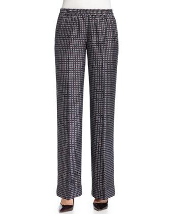 Wide-Leg Foulard Pajama Pants, Black/Ice/White