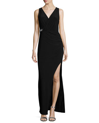 Sleeveless Faux-Wrap Embellished Gown, Black