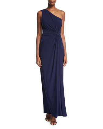 One-Shoulder Side-Twist Jersey Gown, Inkblot
