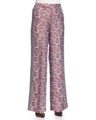 Paisley-Print Tuxedo Pants