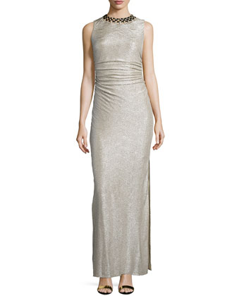 Embellished-Neck Shirred Gown, Gold/Silver