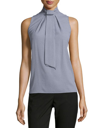 Sleeveless Tie-Neck Blouse, Black/White